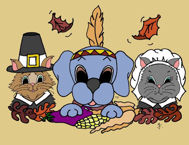 Dreamee Dog celebrates Thanksgiving with her cat friends.