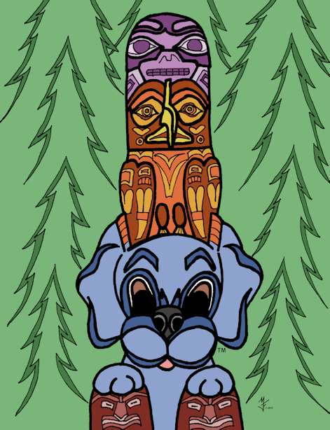 Dreamee Dog visits Washington. Totem poles were amazing as was the Hobbit Hut. Don't miss Pike Place Fish Market!